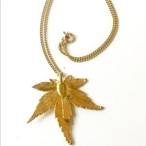 """Gold Dipped """"LEAF"""" Necklace Vintage"""